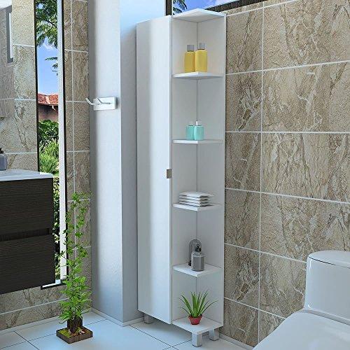5 Side shelf Tall Corner Bathroom Cabinet Storage With 1 Door White