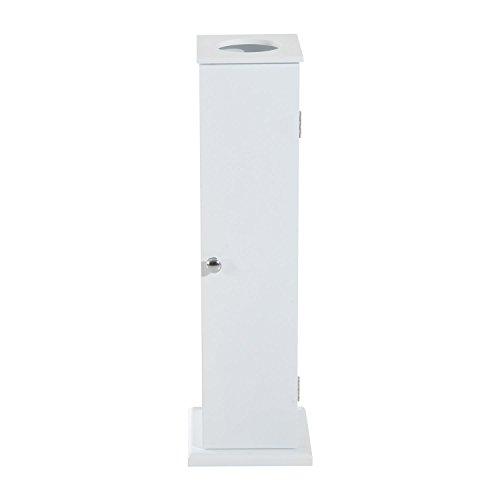 White Cabinet Tissue Storage Stand Toilet Paper Holder Shelf Bathroom Rack Slim Wooden
