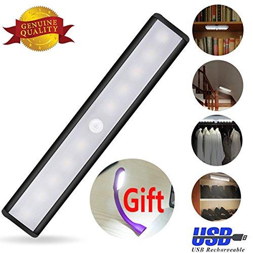AIGUMI Wireless Sensor Wardrobe Light LED Rechargeable Battery Powered Wardrobe Cupboard Storage Room Night Light black