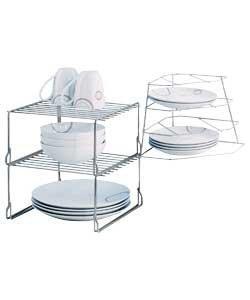 High Quality Steel Wire Cupboard Storage Solution Plate Rack With Corner Rack H32 W22 D19cm - H29 W28 D154cm by Kitchen Ware  Kitchen Accessories