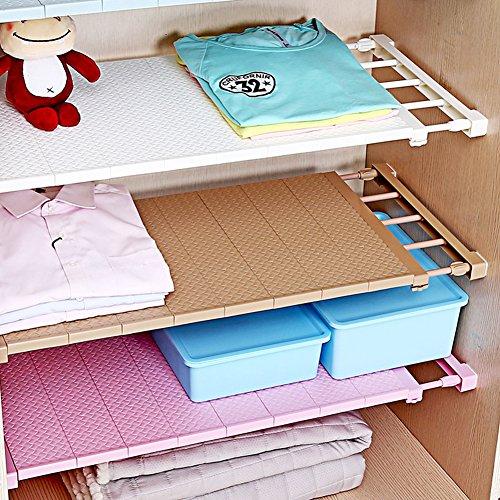 HyFanStr Adjustable Cupboard Shelf Organizer Wardrobe Divider Holder Storage Rack