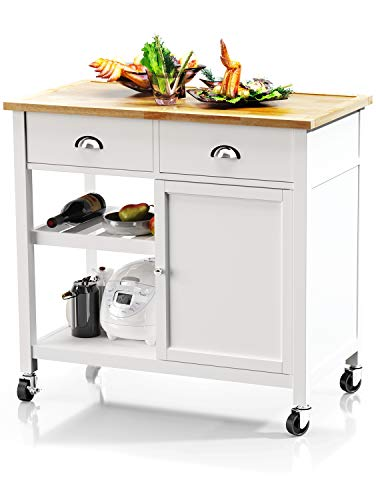 VIPEK Utility Portable Kitchen Island Trolley Cart Rolling Mobile Kitchen Dining Table Serving Cart with Rubber Wood Top Lockable Wheels Drawers Storage Cabinet Wine Rack and Shelf White
