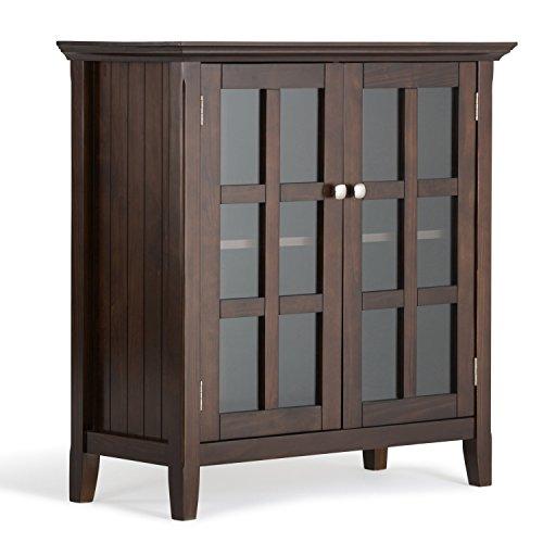 Simpli Home Acadian Low Storage Cabinet Tobacco Brown