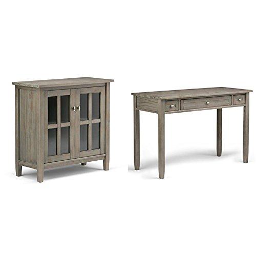 Simpli Home Warm Shaker Low Storage Cabinet Distressed Grey  Simpli Home Warm Shaker Desk Distressed Grey Bundle