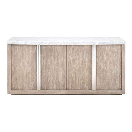 Benjara Wooden Buffet with Two Double Door Storage Cabinets Brown and White
