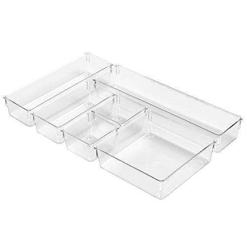InterDesign Kitchen Drawer Organizer for Silverware Spatulas Gadgets - 6 Piece Set Clear