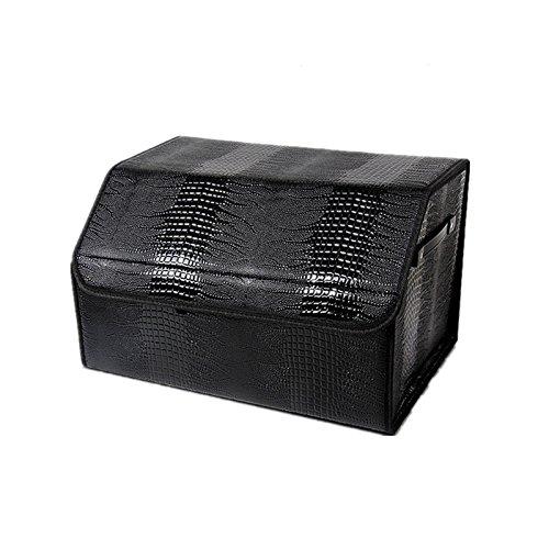 Crocodile Car Trunk Storage box - Leather Car Trunk Organizer Durable Folding Cargo Backseat Organizer bin with Rope Handles Middle Black