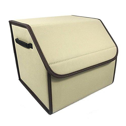 DesignSter Premium PU Leather Car Organizer Durable Foldable Auto Trunk Storage Box Case with Handle for Kids Toys Clothes Shoes equipment etc-  Khaki Grid  Khaki no Grid