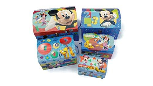 Disney Mickey Mouse Club House 5 Nesting Dome Storage Trunks Boxes Set