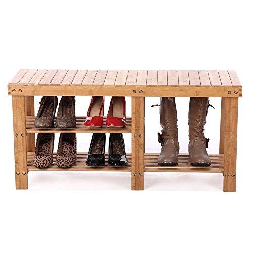 INHOME Shoe Storage Bench Seat Organizer Entryway Wood Furniture Shelf Rack Hallway