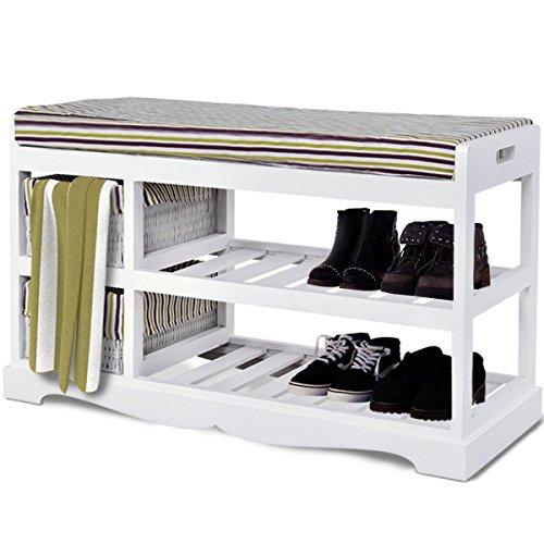 White 2-Tier Bedroom Padded Hallway Wood Shoe Bench Basket Rack Organizer Rack Cushion Seat Ottoman Storage Shelf Entryway US Stock