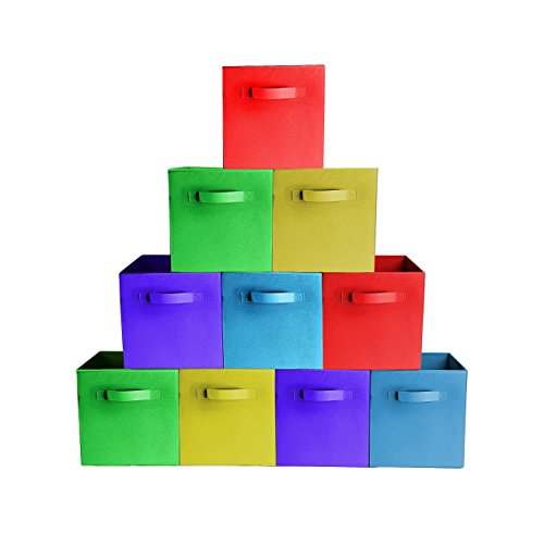 10-PackAssorted Colors Premium Quality Foldable Cloth Storage Bins For Shelves Baskets Cubes Containers Home Decorative Closet Organizer Household Fabric Cloth Collapsible Box Toys Storages