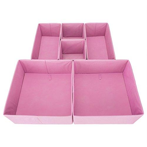 Drawer Organizer – On'h Fabric Storage Cubes Foldable Cloth Dresser Drawer Dividers Bins - 6 Pack - Pink