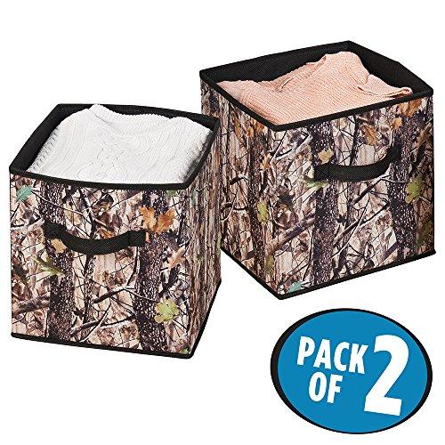 mDesign Camo Fabric Closet Storage Organizer Cube - Pack of 2 Small ForestBlack