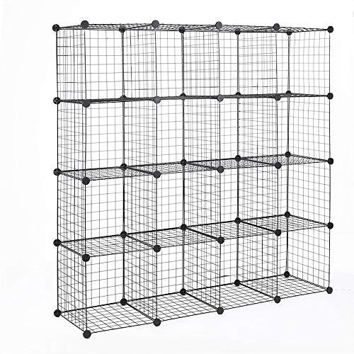 Yosooo 16 Cube Steel Mesh Storage CabinetDIY Closet Organization System Modular Shelving GridsWire Organization SystemBookcase for BedroomHome
