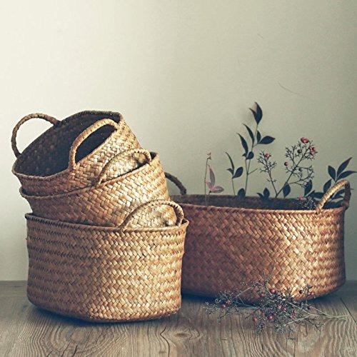 RISEON Set of 4 Rectangle Natural Seagrass Storage Basket Panier Collapsible Nursery Laundry basket with Handles Home Organizer Binsdesktop organizer basket Yellow