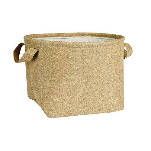 Household Essentials Round Lined Storage Basket with Handles Burlap