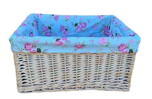 Large White Wash Cottage Rose Lined Storage Basket
