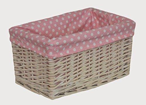 Small Pink Spotty Lined Storage Basket