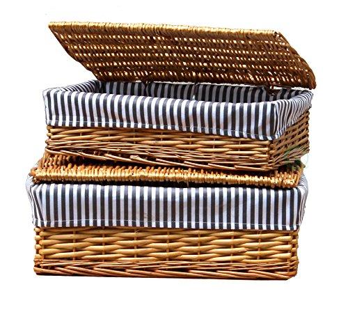 VintiquewiseTM Lined Storage Baskets with Lid Set of 2