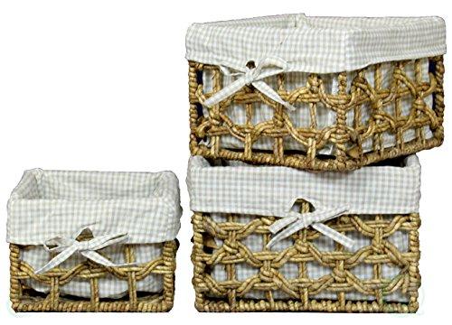 VintiquewiseTM Maize Lined Storage Baskets Set of 3