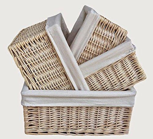 White Lined Storage Wicker Baskets Set 4