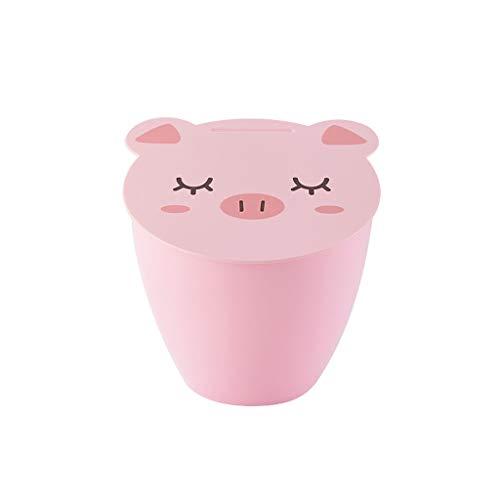 Creative Desktop Cute PigPanda Shape Dustbins Waste Trash Can Bin Waste Paper Storage Basket Garbage Wheelie Rubbish Bin Color  Pink Size  689709inchs