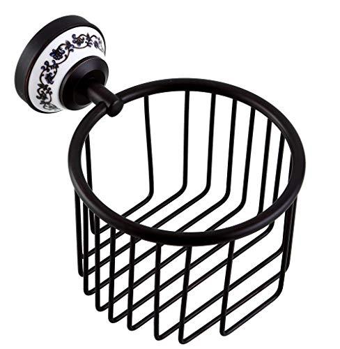 Yxsd Bathroom Toilet Paper Basket Wall Hanging Paper Storage Basket Black Copper Storage Basket