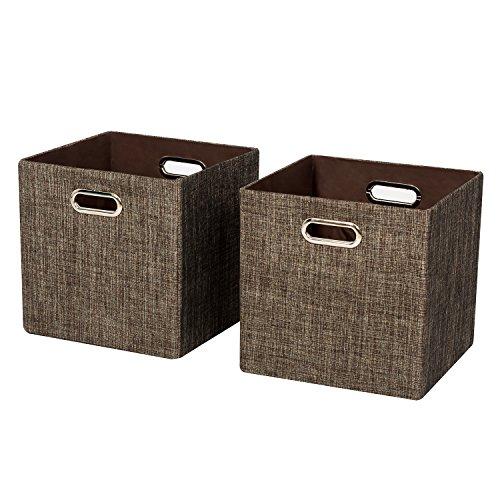 Foldable Storage BinsCloset Organizer Cubes Basket Container 2 Brown