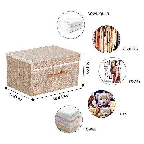 Large Foldable Storage Cube Basket Bin 1693  x 118 x 709 Cream