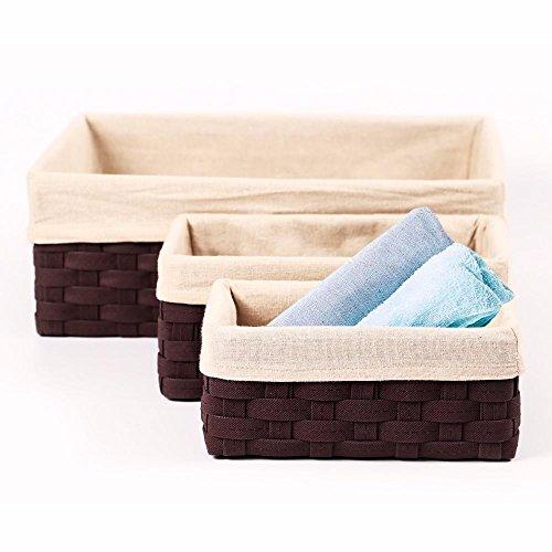 go2buy Houseware Storage Cube Basket Bin 5 Pack Box Organizer Closet Solution Brown
