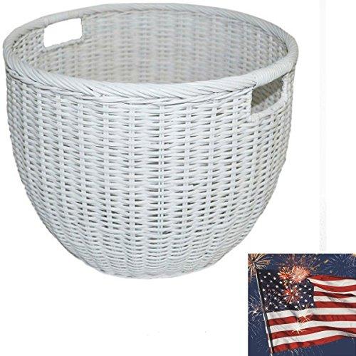 Rattan Basket Round White Baskets for storage Large wicker basket Laundry Baskets - Pillowfort