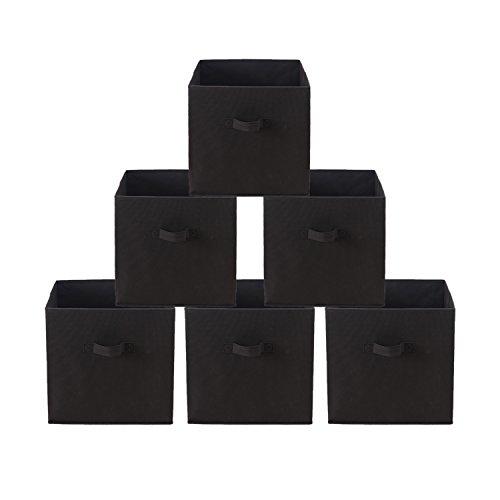 HollyHOME Foldable Storage Cube Fabric Drawers Storage Bins Basket Closet Organizer with 2 handles 6 PackDark Brown