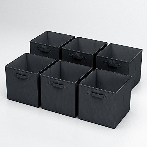Shellkingdom Foldable Cloth Storage Cube Basket Bins Organizer Containers Drawers 6 Pack Black