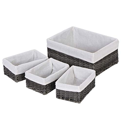 OCDLIVERER 4Set Lx1&Mx3 Large Handmade Wicker Storage BasketsDecorative Baskets and Bathroom Organizer for Living roomBathroom Closet Organizer and Bath Beauty Products OrganizerSet 4Grey