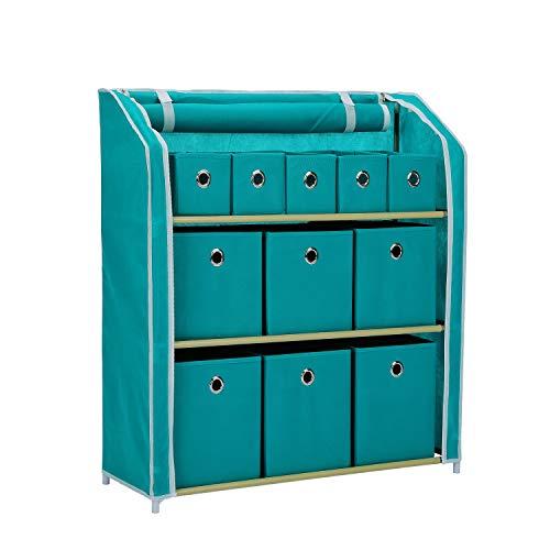 JEROAL Multi-Bin Storage Unit Organizer with Storage Bins Multi-Section Storage Cabinet Sturdy Metal Shelf Frame Turquoise