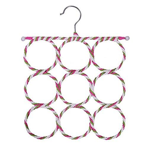 RoseSummer 9 Ring Scarf Holder Tie Hanger Belt Closet Clothes Organizer Hook Storage