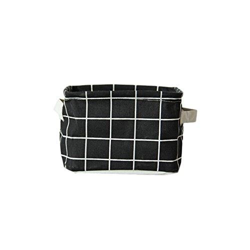 Raylans Home Office Cotton Linen Storage Basket Box Case OrganizerBlack plaid