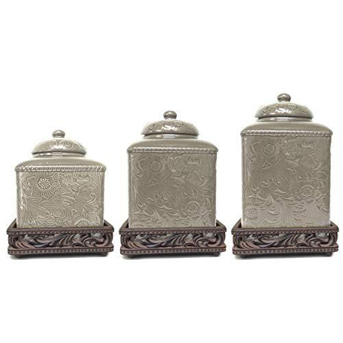 Canister and Base Set Tan Floral Ceramic