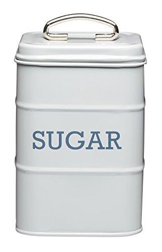 Living Nostalgia Sugar Canister 11x17cm Grey Tin Storage Container Kitchen