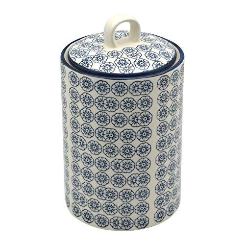 Nicola Spring Patterned Porcelain Tea  Coffee  Sugar Canister - Blue Flower Print Design