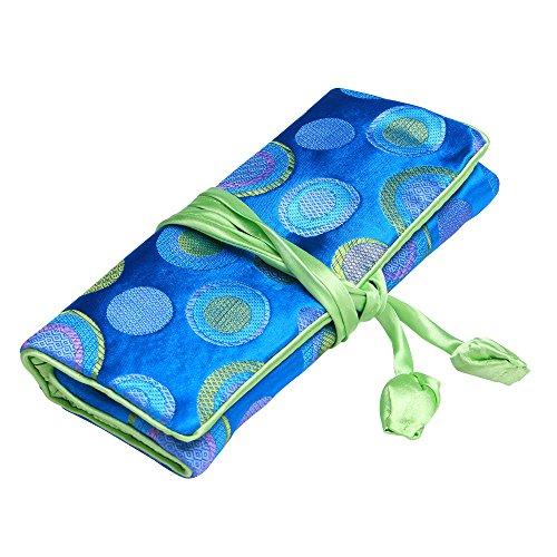 ALASKA BEAR - Travel Jewelry Case Polka Dot Roll with Silk Embroidery Brocade Tie Close HandbagsBlue