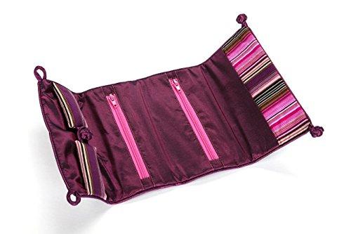 Travel Jewelry Roll Bag with Silk Embroidery Brocade Tie Close Handbags - Black