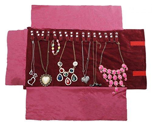 WODISON Travel Velvet Jewelry Roll Necklaces Organizer Clutch Bag Case Claret