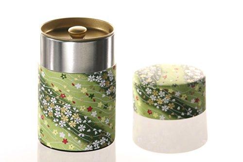 KitcheNova Yu-Zen Washi Tin Tea Coffee Canister 53 oz Green with Red White Gold Flowers 50