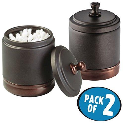 mDesign Metal Bathroom Vanity Canister Jar for Cotton Balls Swabs Cosmetic Pads - Pack of 2 Split Tone Bronze