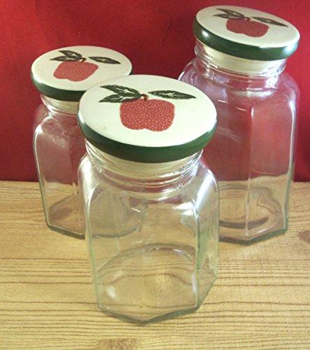 Apple Jack Fruit Kitchen Storage Cookie Canister Jar Glass 3 Pieces M