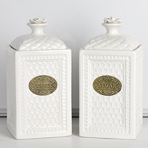 Coffee and Sugar Canister Set Ceramic Food Storage Container 40 OZ Each Airtight Lids 2 Piece Cream