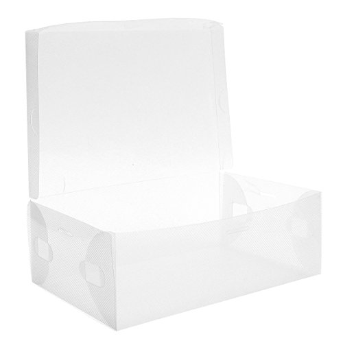 3 Pcs Plastic Transparent Candy Color Foldable Shoe Box Trainers Reusable Dustproof Stackable Shoe Storage Container Organizer Holder clear