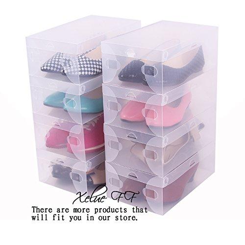 7 Pcs Foldable Clear Shoe Box Plastic Shoe Storage Containers Shoes Closet Organization